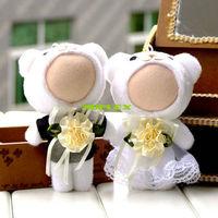 Funny Photo Wedding dress Couple bear 10CM 3D Face Doll