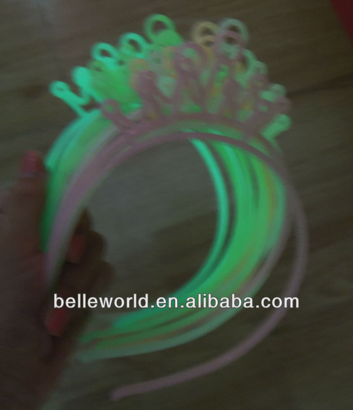 party supply plastic crown headband grow in the dark, light up hair band