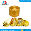 Spice Herb Grinder 4 Piece Gold Metal Herbal Kitchen Tobacco Crusher