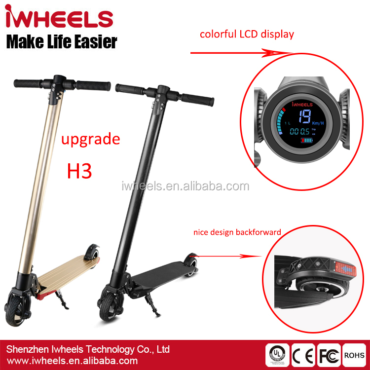 China cheap price light weight 250W Brushless LCD display Alloy Frame 2 wheel folding electric <strong>trike</strong> scooter