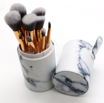 Amazon Best Selling Private Label Vegan Marble Makeup Brushes Professional With Cylinder Box Package