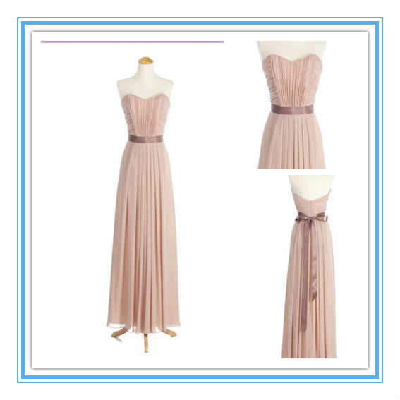 Hot Sale Strapless Chiffon Sash A-line Baby Pink Bridesmaid Dress(AC-1229)