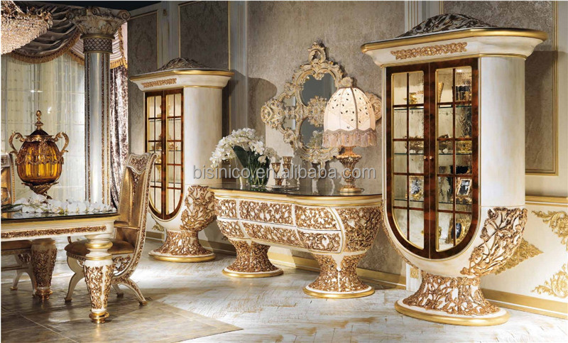 Italy Palace Ornate Dining Room FurnitureSolid Wooden Engraved Marquetry Glass Top Buffet HutchLuxury European Style