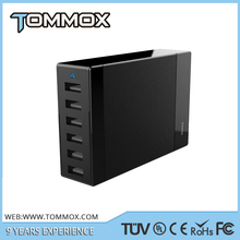 Smart Power Tower 12A travel usb charger 6 port multi usb charger with CE FCC ROHS ETL for phone and tablet PC