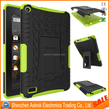 Shock Absorbent Heavy Duty Pc+Tpu Dual Layer Defender Hybrid Armor Tyre case with Kickstand For Amazon Kindle Fire HD 7 2015