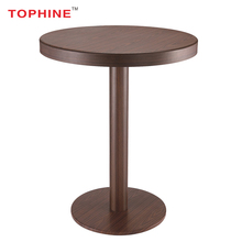 Country bistro furniture wooden look aluminium bar single leg cocktail table