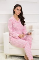 2015 Autumn & Winter New women pink notched collar stripe long sleeve leisure home wear modal night suit capri pajama sets