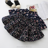 MS68930C vintage floral printing kids girls 2016 latest style skirts