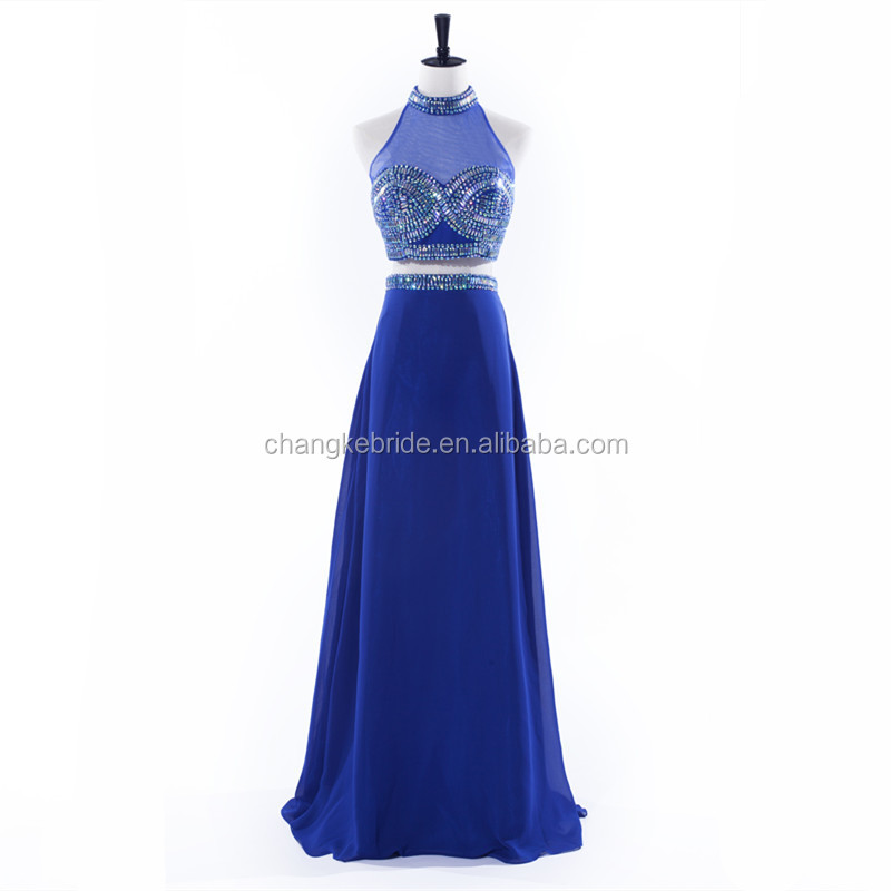 New Sexy Beading Backless Evening Dress 2 Piece A line Chiffon Crystal Sequins Formal Occasion Dress