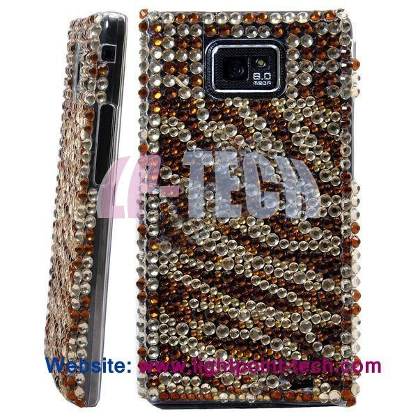 bling bling case rhinestone zebra cover for samsung galaxy s2 i9100 diamond
