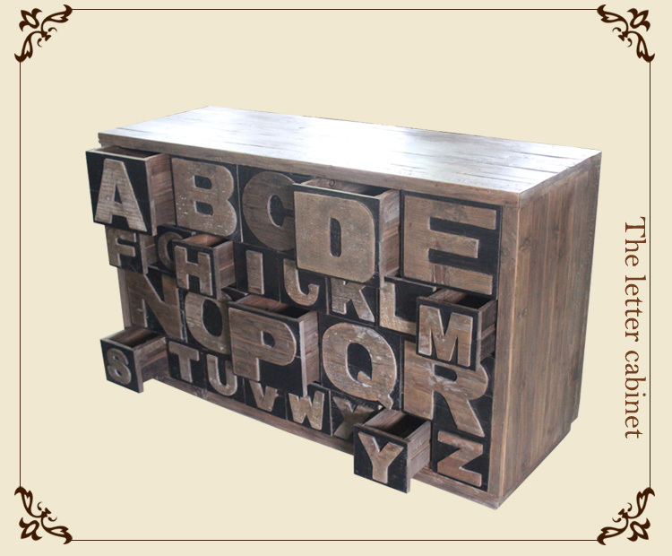 European style furniture Antique furniture wooden letters drawer cabinet