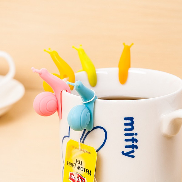 LFGB SGS FDA approved Candy Color silicone snail cup identifier Tea Bag hand