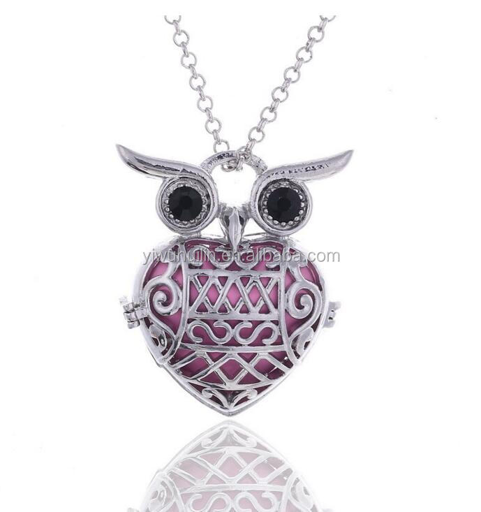 HJ031 Yiwu Huilin Jewelry Personality Fashion Owl Pendant heart ball Essential Oil Aromatherapy Diffuser Necklace