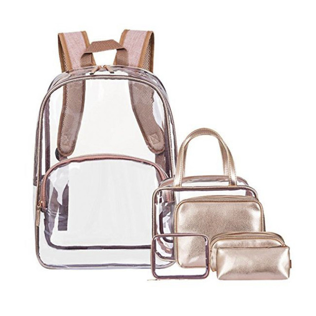6 in 1 Clear Backpack with Cosmetic Bag, Clear Transparent PVC School Backpack Outdoor Bookbag Portable Travel Toiletry Bag