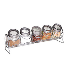 5pcs Clear Heart-Shaped Glass Spice Jars with Metal Stand / 5pcs Clear Glass Condiment Shaker /Set 5 Glass Cruet Set
