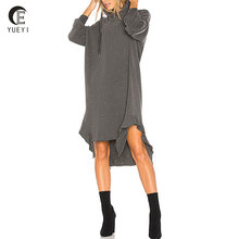 oversized distressed plain long hoodie dress