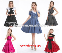 Clothes walson China factory 50's Pin Up Retro Prom Party rockabilly dress pink and black