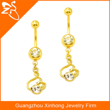 Wholesale new style factory price cheap gold plated penis navel piercing Indian with zircon