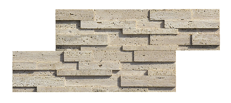 Beige travertine 3d brick effect wall panels stacked stone panel