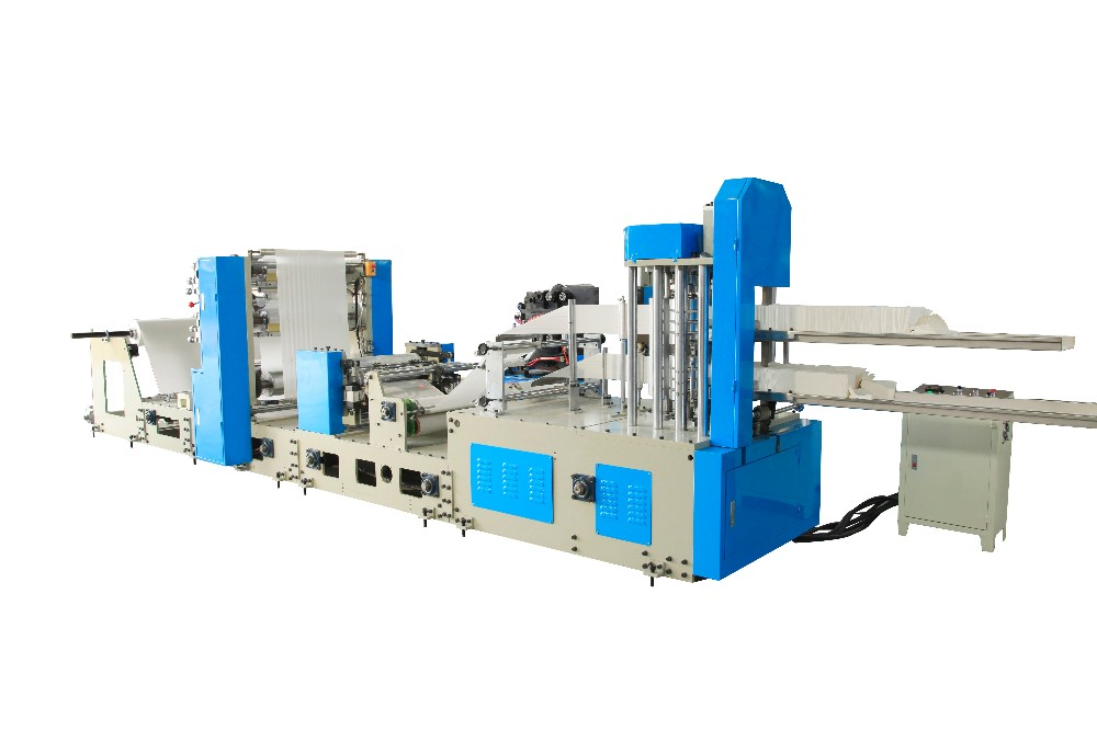 300/330 Double Deck 4Line Machine to Make Napkin, Restaurant Napkin Color Printing Embossing Making Machine