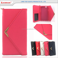PU leather plain pattern metal magnet buckle with strap, ID card slot phone case for iphone 6 5 4 S C SE PLUS