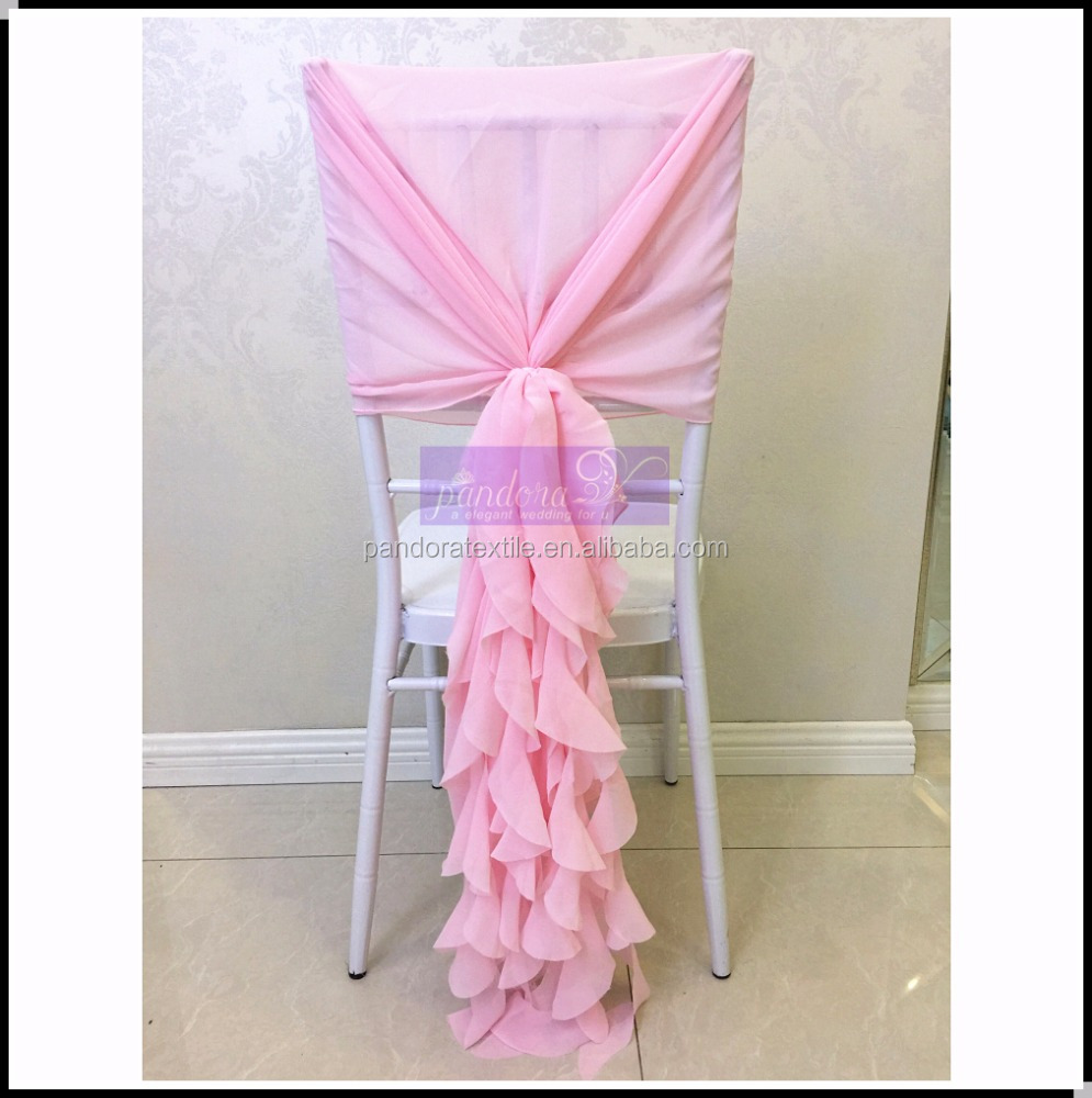 Fancy blush pink ruffled chiffon chair covers curly willow sash wedding chair covers