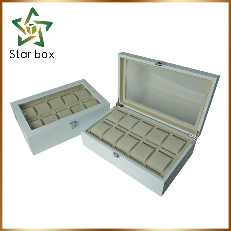 2016 High Quality Natural 10 Slots Wooden Watch Box Wholesale, packaging box watch