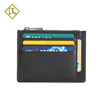 Custom minimalist front pocket ID cardholder case men's slim rfid blocking 100% genuine leather wallet credit card holder man