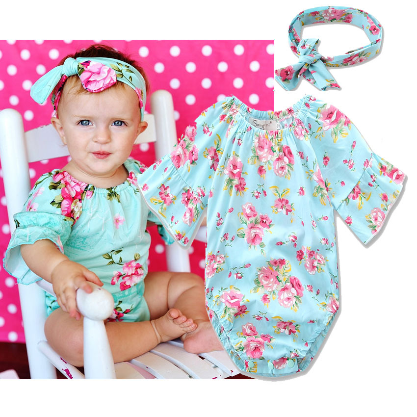 2017 Baby Girl Soft Rompers with Headband 1 year old baby clothes