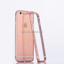Fashion crystal bling drilling rhinestone diamond aluminum metal bumper cell phone case for IPhone 6/6 plus