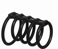 Black Rubber 5 Rings Penis Rings Genuine Leather Prolong Se Erection Glans Male Cock Rings Dick Se Products For Man