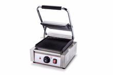 Commercial single top ribbed bottom flat custom panini press panini bread maker electric panini press electric contact grill