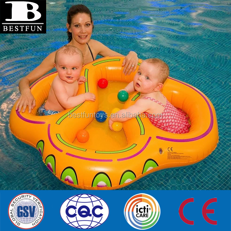 safety inflatable double swim seat durable plastic inflatable twins baby pool float twin duoble baby inflatable swimming float