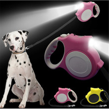 Retractable Dog Leash With Light Bright Flashlight Extending Puppy Walking Leads For Small Medium Dogs Up to 35kg