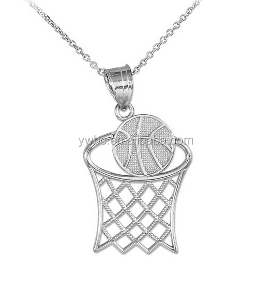 Wholesale player Silver Basketball Hoop Sports Charm Pendant Necklace