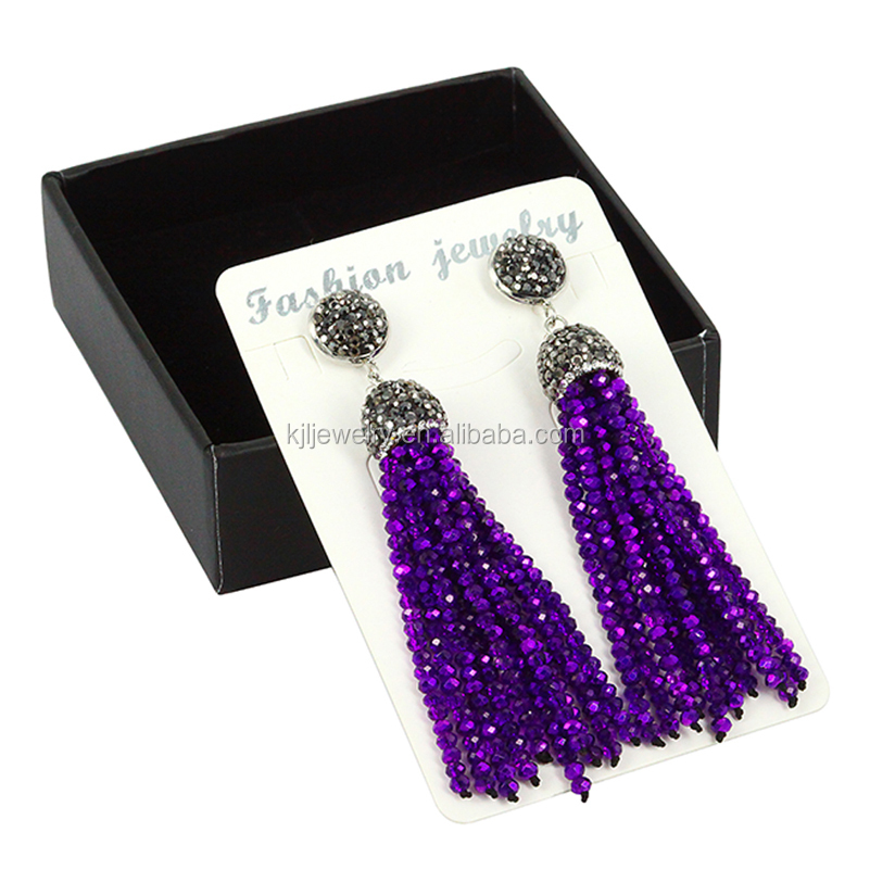 Original Bohemian Glass Crystal beaded long drop earrings for women,Tassel Zircon Charm earrings