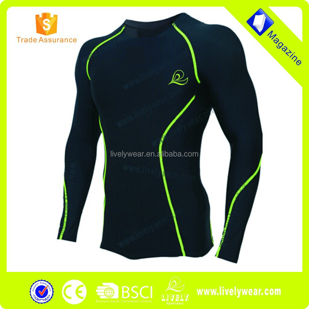 2015 Lively Spandex Skin Wear Tight Men's Long Sleeve Compression Shirt for Cycling/Running