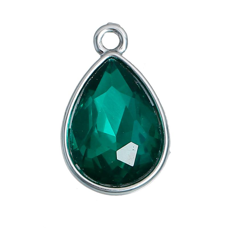 May Birthstone Charms Drop Silver Tone Dark Green Glass Rhinestone Faceted Logo Tag Metal Pendant