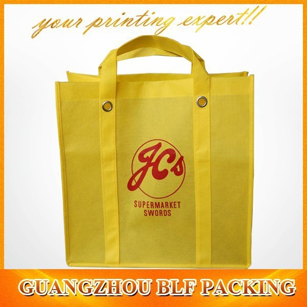 New yellow promotional loop handle pp non-woven tote bag