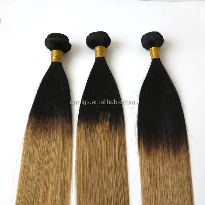 Cheap straight hair weave 8''-30'' 3pcs/lot two tone ombre remy hair weaving 1b 27 virgin brazilian ombre weave hair