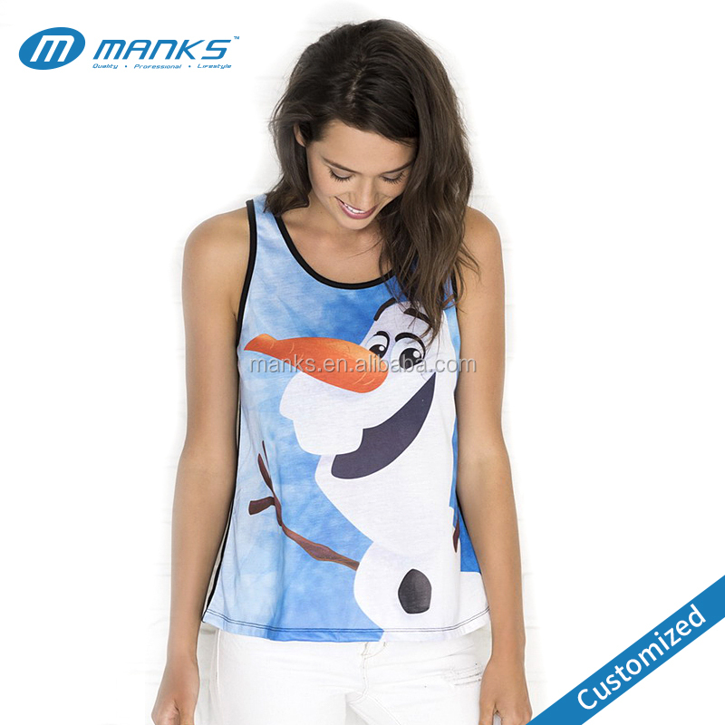 Custom Design 100% Polyester Dry Fit Full Sublimation Women Tank top