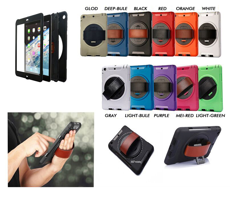 Rugged Case for iPad Mini With 360 Degree Rotation Leather Hand Strap with Built-in Stand
