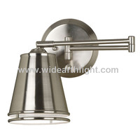 UL CUL Listed Brushed Nickel Bedside Swing Arm Reading Wall Lamp For Hotel W80796