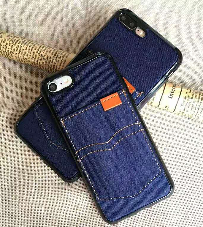Card Slot Series Handmades Stitching Denim Ultra Slim Case Smartphone Back Phone Case with Bule Color