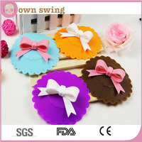 Lovely Butterfly knot Leakproof Silicone Cup Lid Cover/Cute Anti-dust Silicone Glass Cup Cover/Coffee Mug Suction Seal Lid Cap