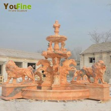 Outdoor garden marble water fountain with lion statues