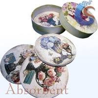 bouquet design round absorbent cup coaster