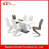 Modern Dining Room Sets New Design White High Gloss MDF Tables Comfortable Faux PU Leather Chair Dining Table and Chairs Set