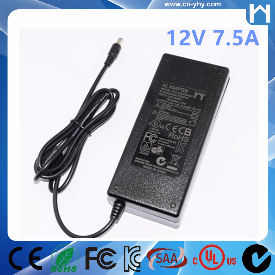 12V 7.5A power adapter 90W switching power supply with ac cable