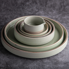 Korea style home table dinnerware high quality glazed cheap ceramic <strong>flat</strong> 4/5/5.5/8/9&quot;porcelain plate